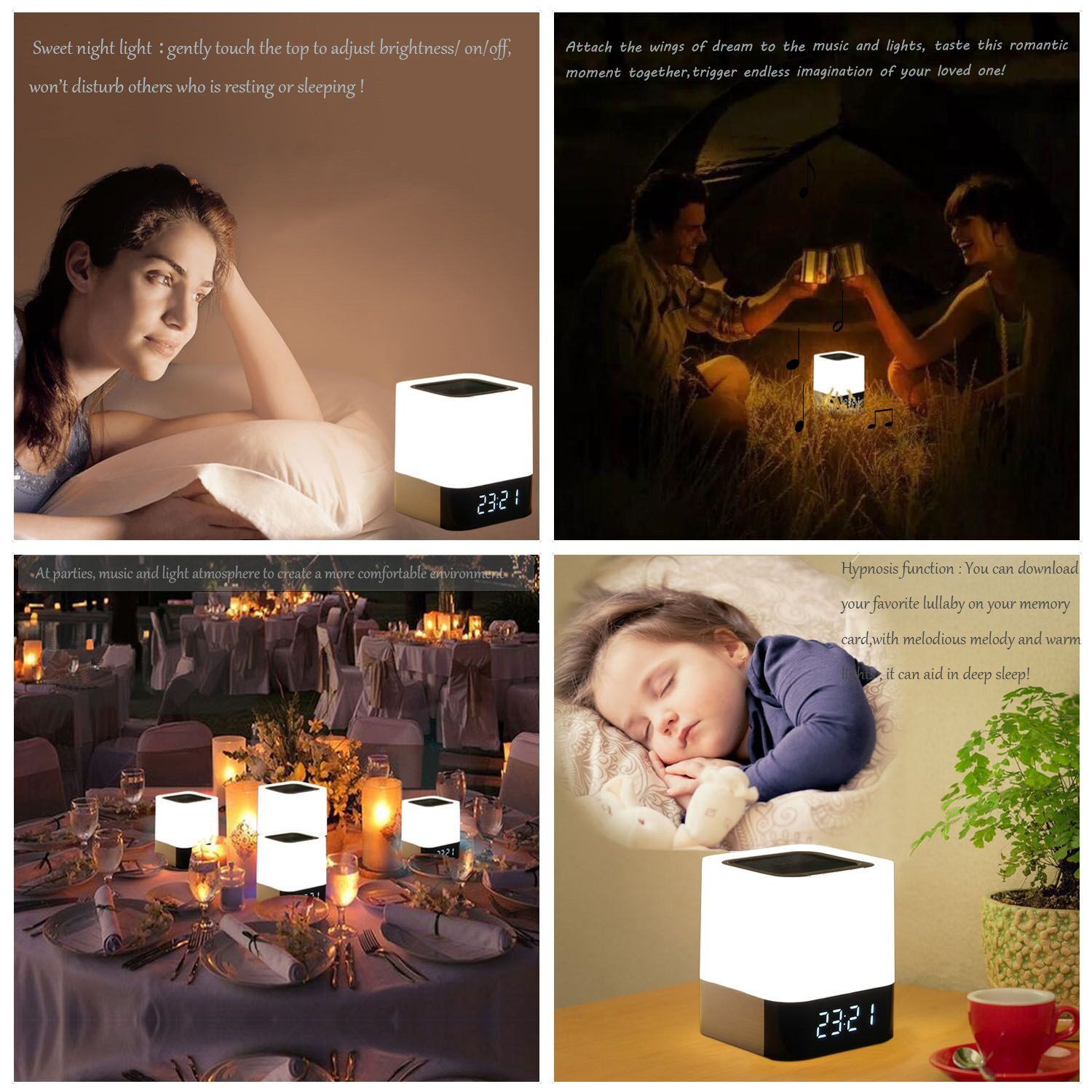 WamGra Night light Bluetooth Speaker,Alarm Clock Bluetooth Speaker Touch Control 48 Led Changing Color Bedside lamp,MP3 Player Portable Wireless Speaker with Lights Gift for Women Men Kids Teens Girl
