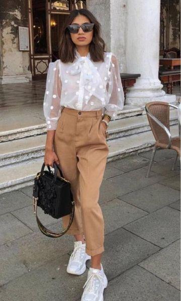 Photo of White blouse, camel pants, white sneakers #fashion