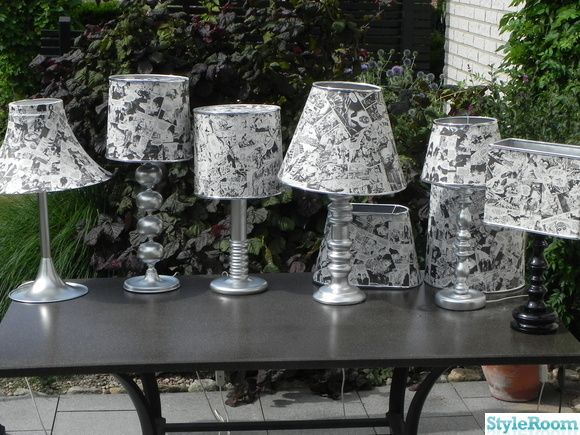 Fleamarket lamps updated with comic book paper.