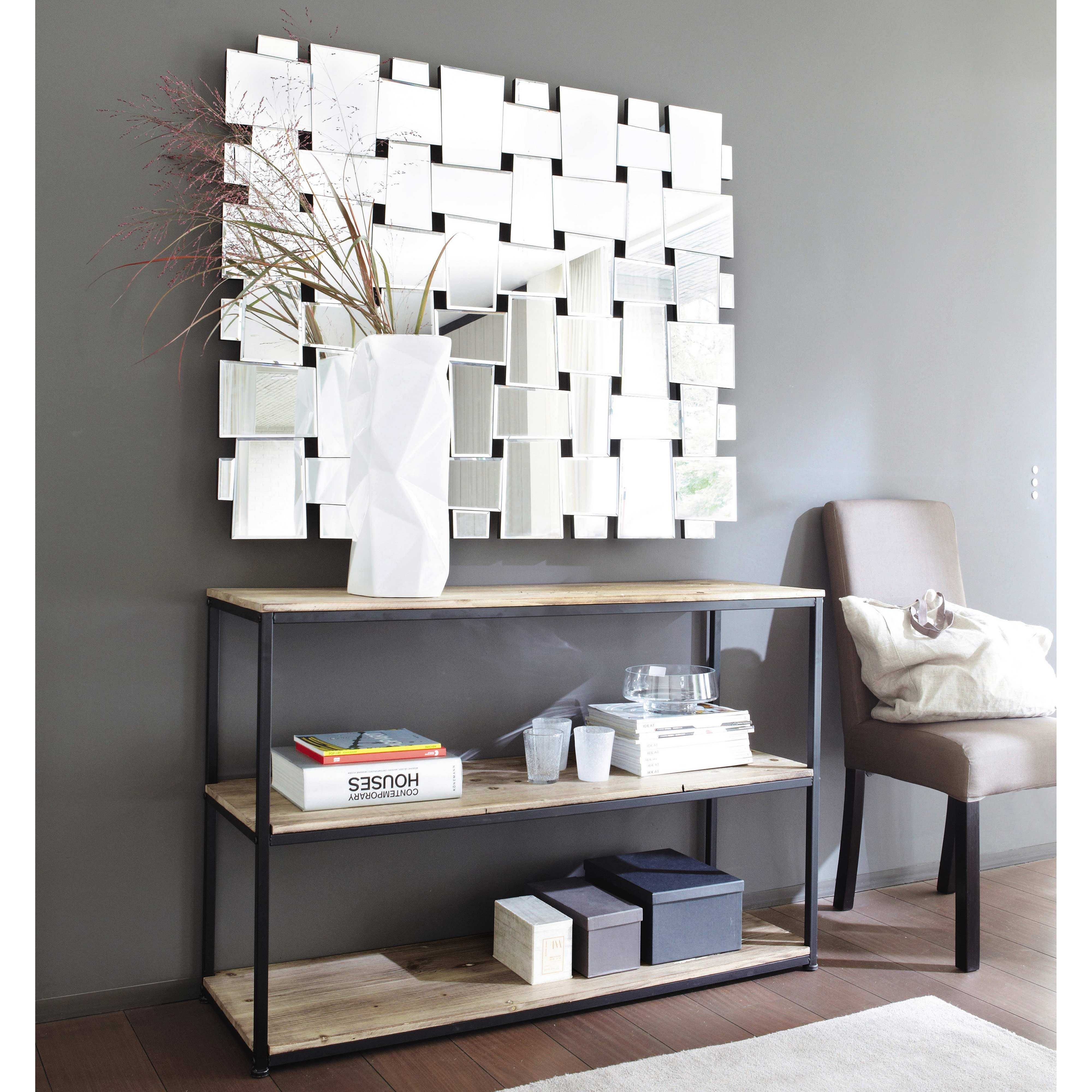 Metal and solid wood console table in black W 120cm Long Island ...