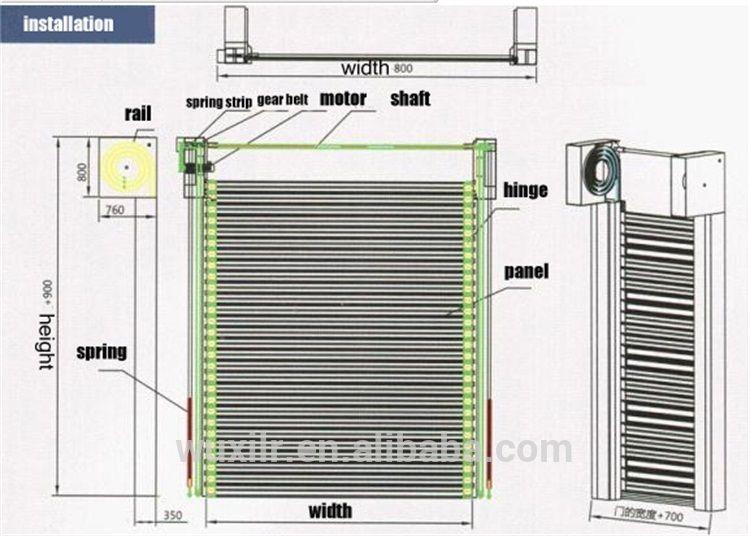 Industrial Aluminum Hollow Panel Spiral Gate High Speed Fast Roll Up Door Aluminum Spiral Gate Customized Color Shop Doors Roll Up Doors Paneling