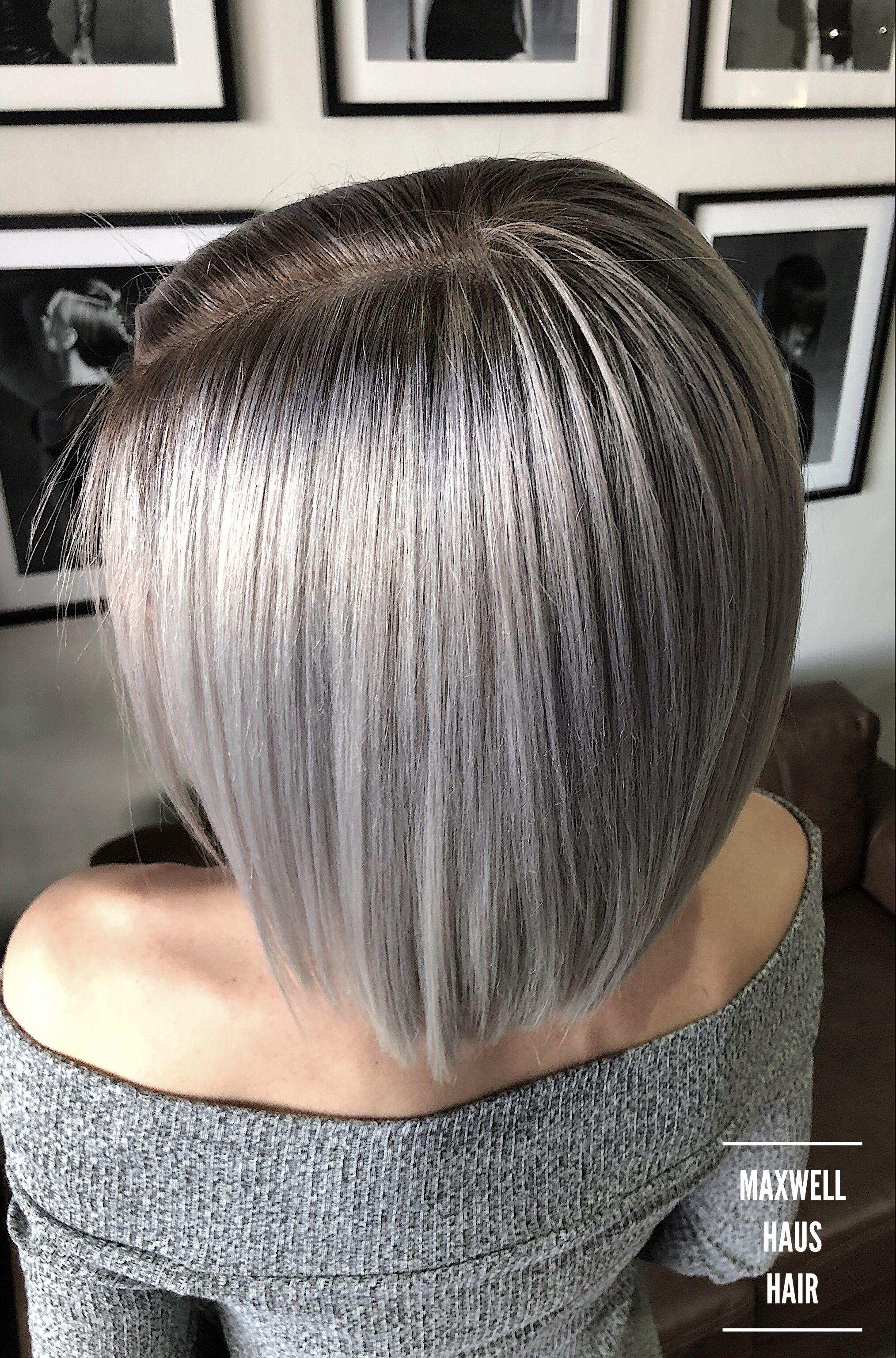 Silver Grey Babylights Grey Hair Color Medium Hair Styles Babylights