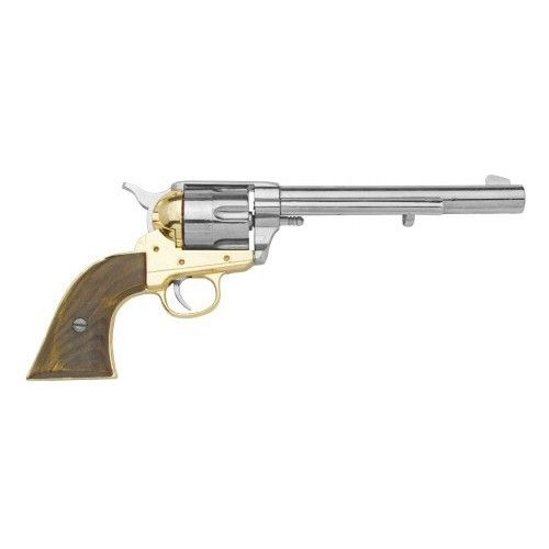 """M1873 Old West Cavalry Revolver is at www.replica-blankguns.com. It is named as such for its longer, 7.5"""" barrel. This classic replica gun is a functioning, realistic single action replica old west revolver. All features work, spin, and pull just like the real thing. This model gun comes in 3 finishes: Gray, Nickel, and Blued. The M1873 Old West Cavalry Revolver with Nickel Finish is a non firing replica Gun."""
