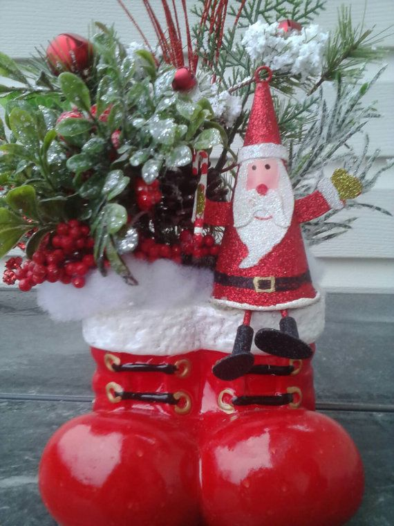 Holiday Arrangement Santa Boots Table Decor Holiday Decor Christmas Centerpieces Xmas Crafts Holiday Arrangement