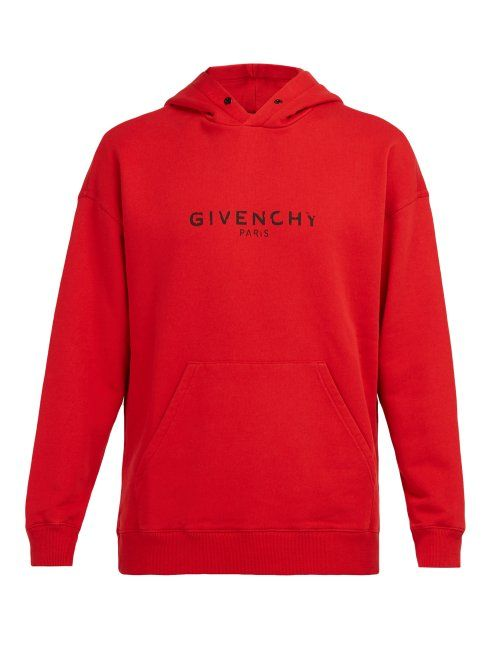 GIVENCHY GIVENCHY DISTRESSED LOGO PRINT COTTON HOODED