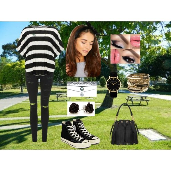 day out by georgiegirl101 on Polyvore featuring M&Co, Topshop, Converse, Yves Saint Laurent, Larsson & Jennings, Amrita Singh, Wet Seal and Napier