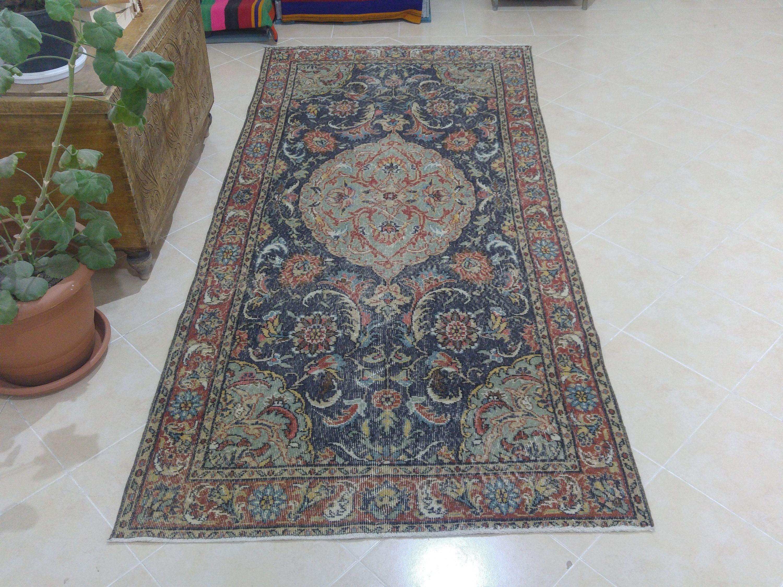 Navy Blue Rug Vintage Rug Oushak Rug Turkish Rugs Carpet Rug Bohemian Rug Floral Rug Oriental Rug 3 9 X 8 6 Ft Rk 2768 2020