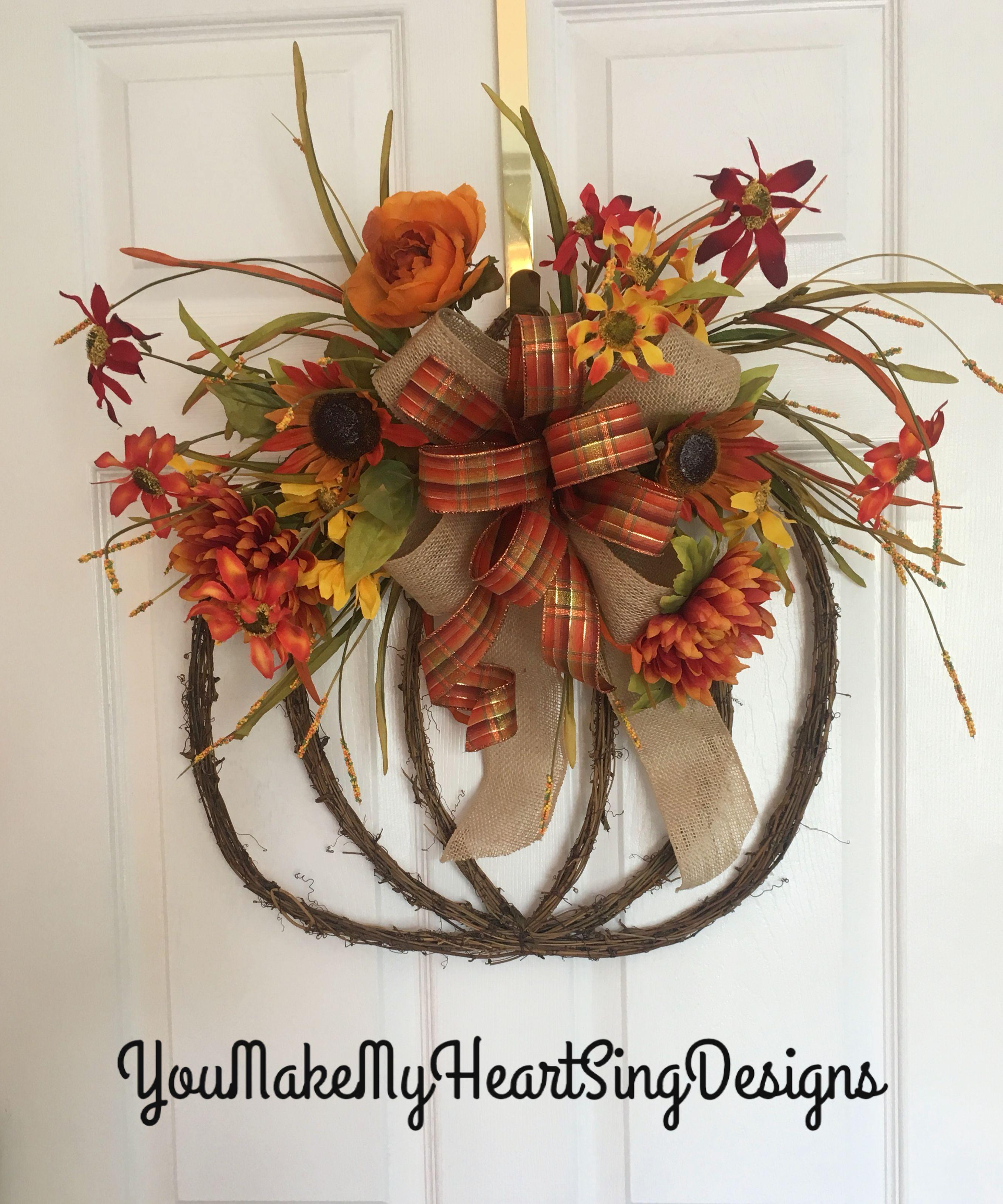Pumpkin Grapevine Wreath Fall Pumpkin Wreath Fall Wreath Pumpkin And Fall Floral Wreath Fall Grapevine Wreaths Diy Grapevine Wreath Fall Wreath