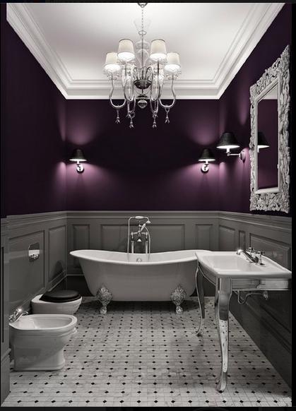 Purple And Grey Purple Bathrooms Dark Purple Walls Beautiful Bathrooms