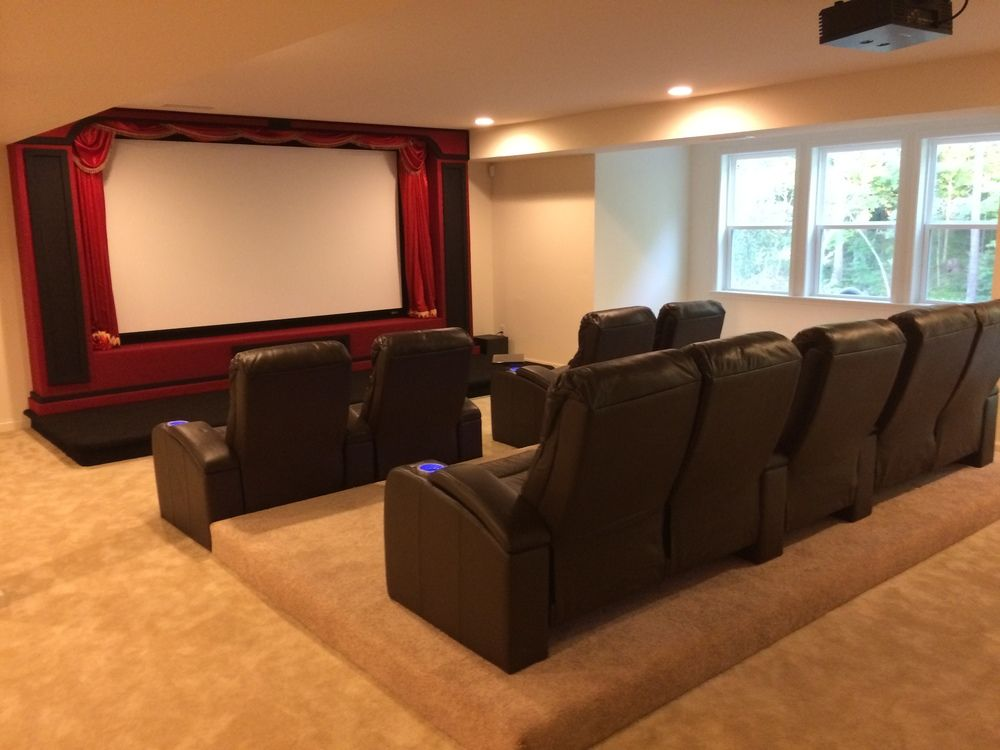 Custom Built Home Theater Stage And Riser No Table Behind Seats
