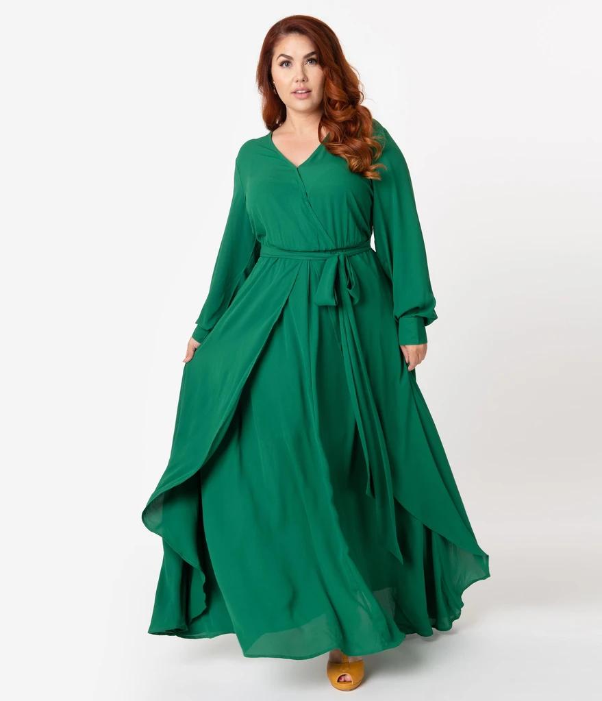 Unique Vintage Plus Size Emerald Green Long Sleeve Farrah Maxi Dress Vintage Maxi Dress Maxi Dress Green Green Long Sleeve Dress [ 1023 x 879 Pixel ]