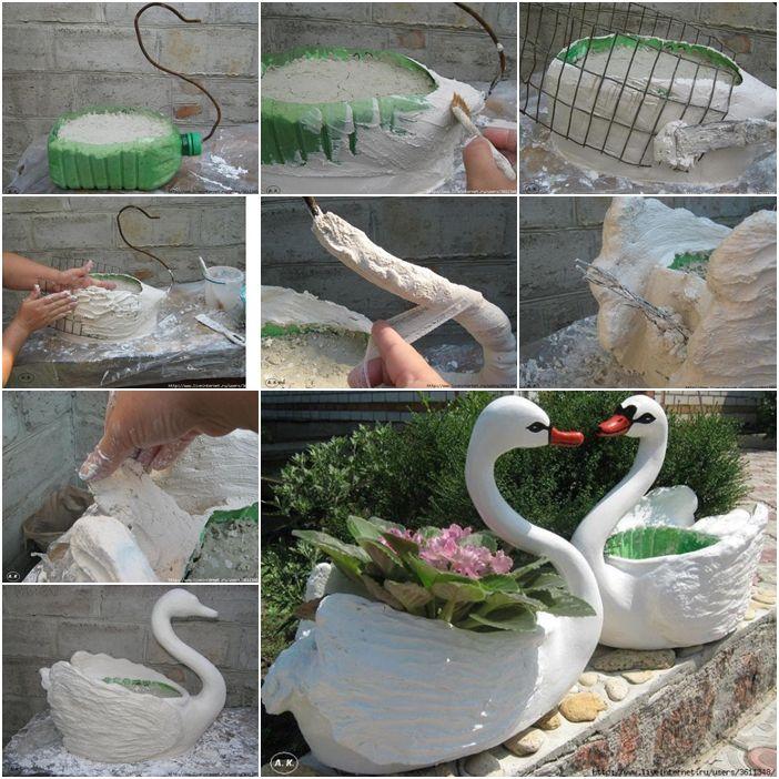 How To Diy Swan Pot Planter From Plastic Bottles Fun Stuff Pinterest Swans Plastic