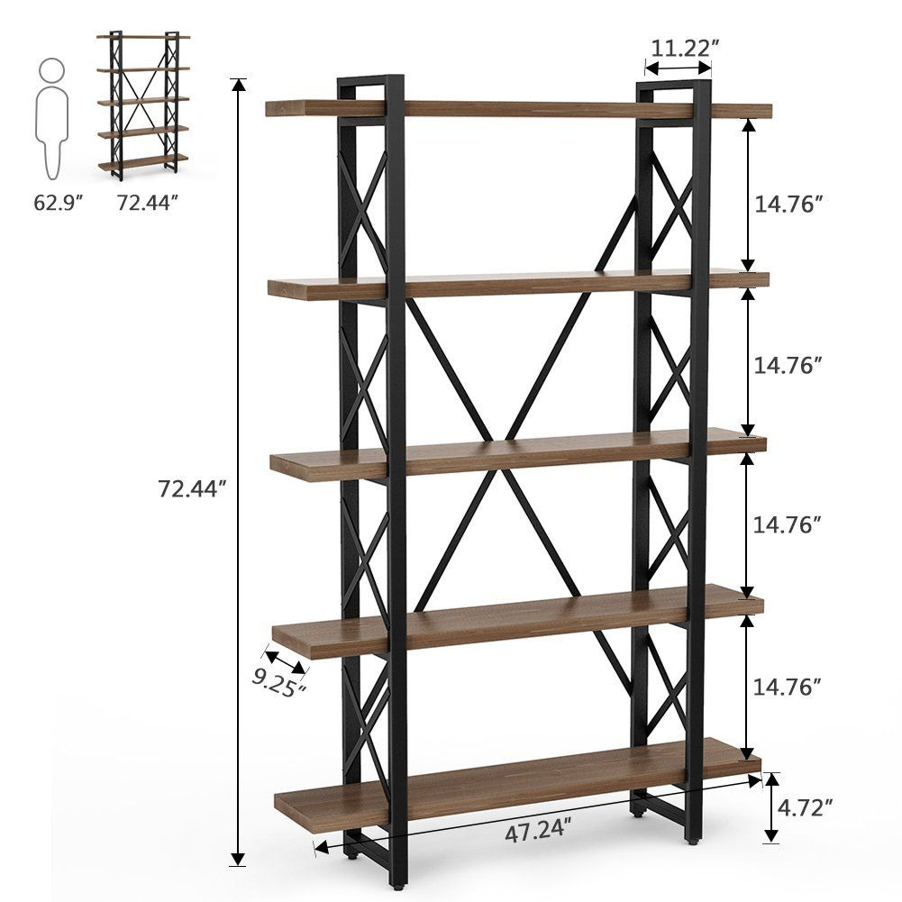 LITTLE TREE Large Bookcase Solid Wood Industrial Style Free Standing Bookshelf