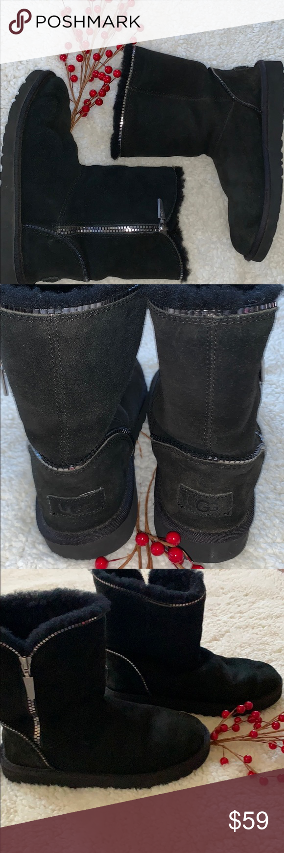 ❤️UGG Boots SIZE 4 Girls Black ❤️UGG Boots Size 4 Girls Black; Shiny Silver Zippers with same zipper design encircling the top & also adorning the heel area; SUPER CUTE & in EXCELLENT Condition.