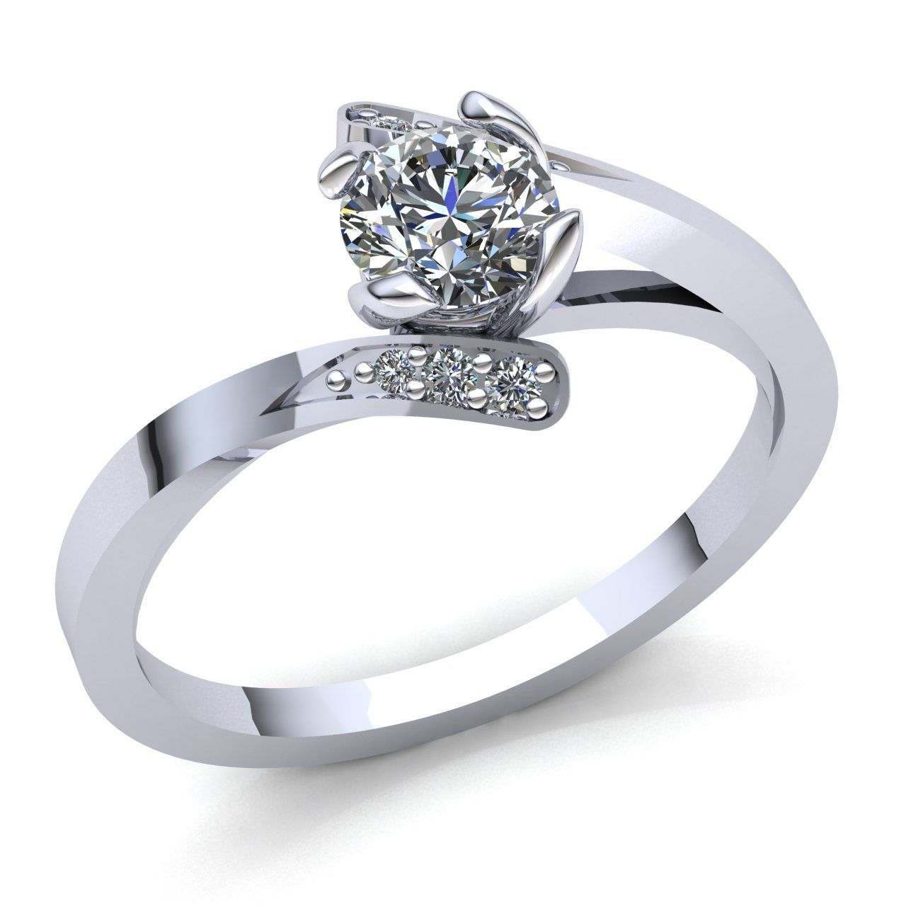 Forever One Moissanite Wedding Ring Set with 0.38ct Accent Diamonds on Side and 0.43ct Real Diamonds Matching Band Engagement Ring Set