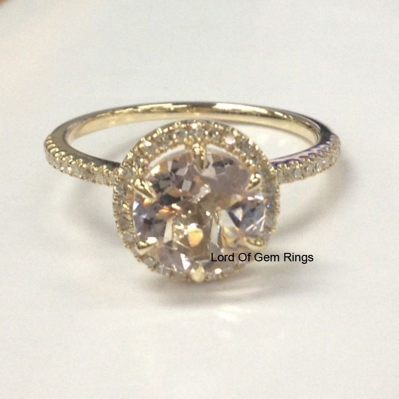 Solid 14K Yellow Gold 8mm Round cut Morganite Engagement Diamonds Ring 6 Prong #LOGR #SolitairewithAccents
