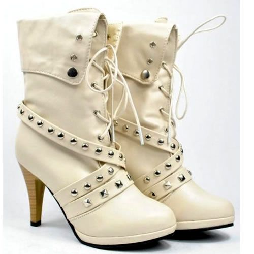 Women's White Goth Punk Fashion High Heel Ankle Biker Boots