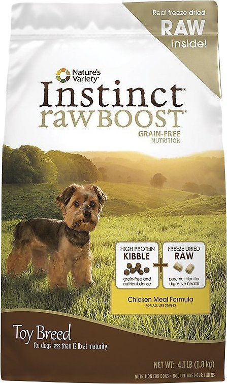 Instinct Raw Boost Toy Breed Grain Free Recipe With Real Chicken Freeze Dried Raw Pieces Dry Dog Food 4 Lb Bag Chewy Com Best Dog Food Toy Dog Breeds Dog Food Brands