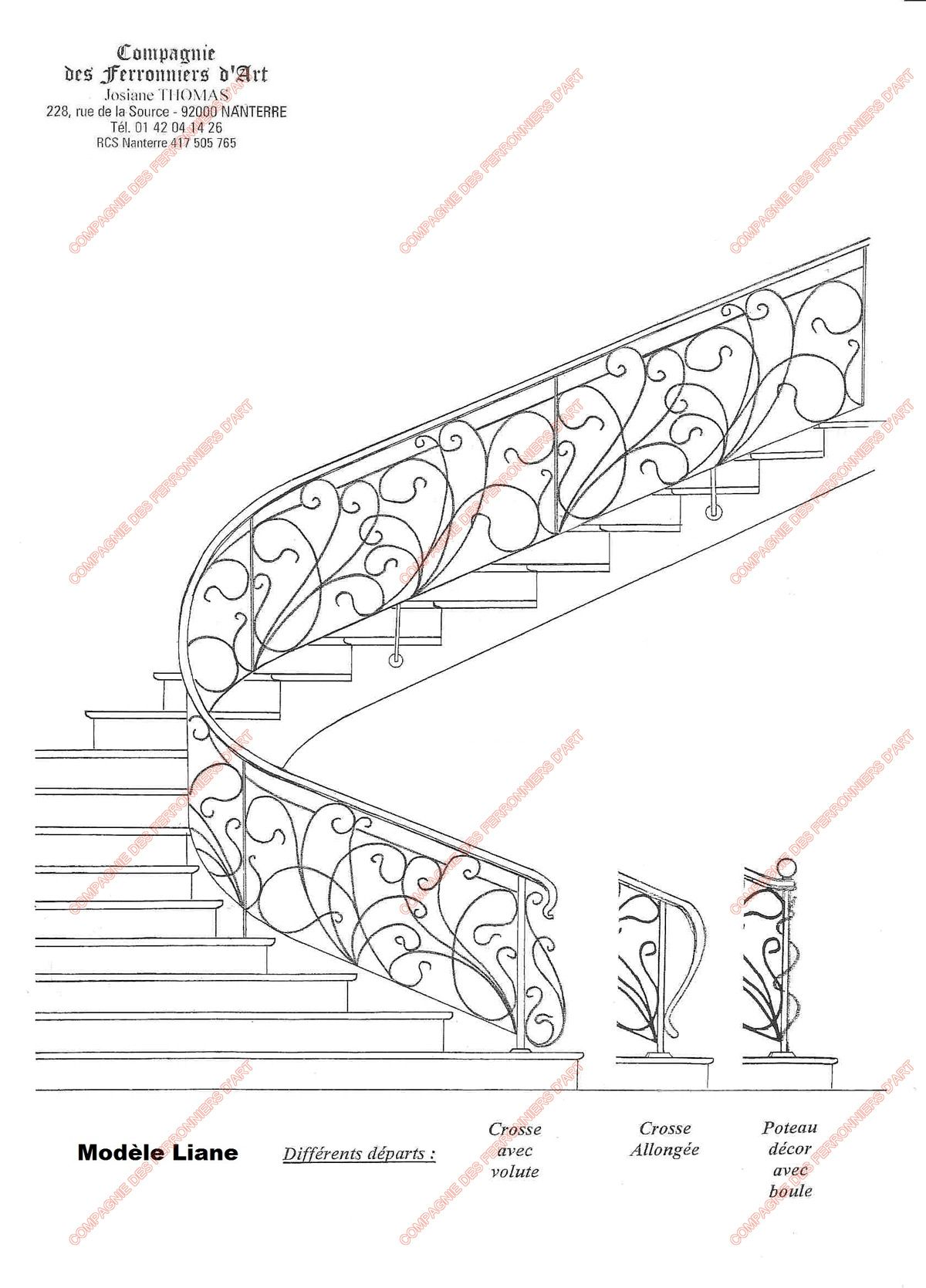 stair handrail wrought iron metal working art nouveau upholstery stairs  [ 1200 x 1669 Pixel ]