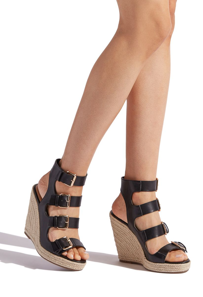 d4e6fdfc469f CAELLA BUCKLED DETAIL WEDGE - ShoeDazzle MATERIAL  FAUX-LEATHER PLATFORM  HEIGHT  1.75