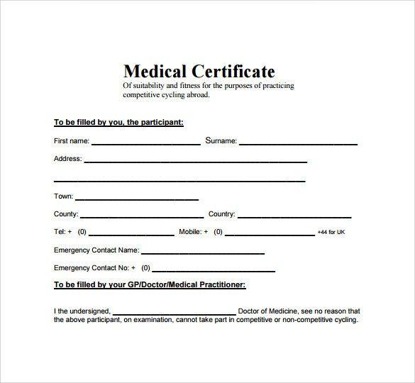 Medical Certificate Sample 7491 Medical Certificate