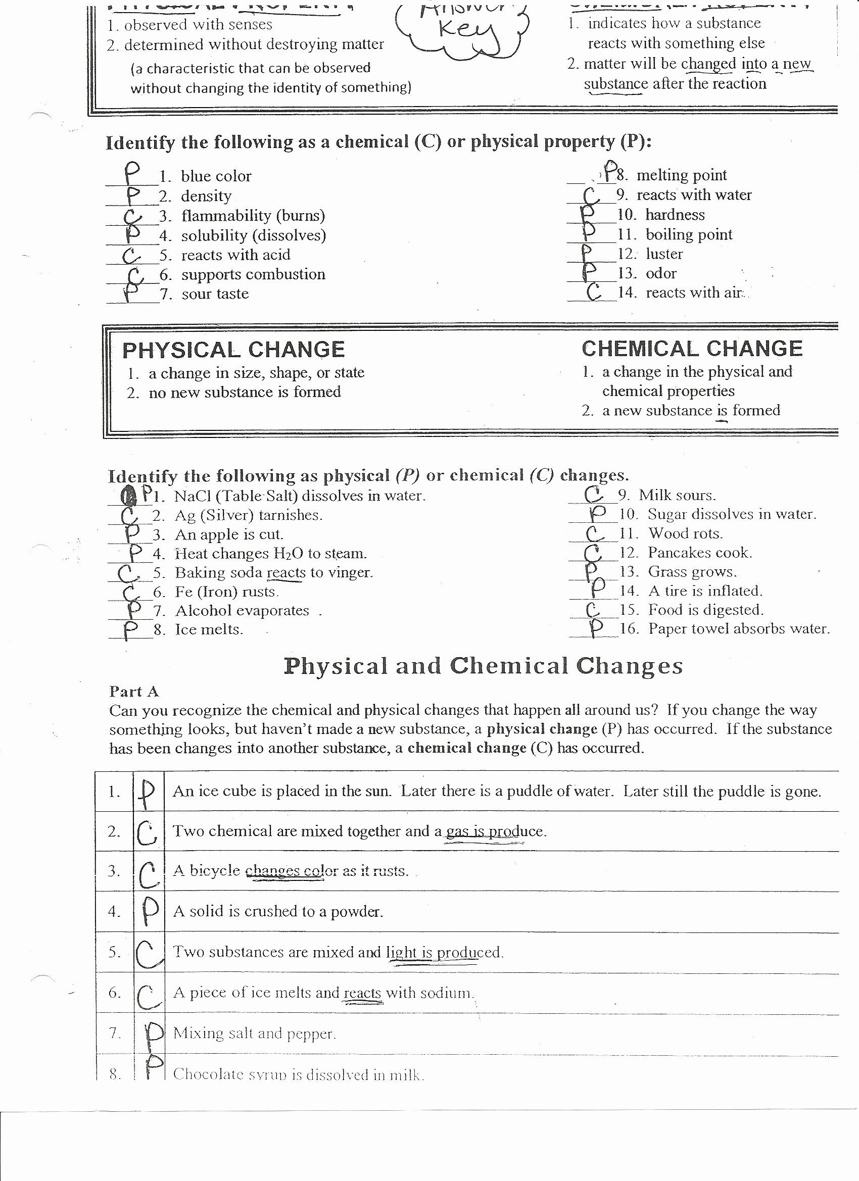 Physical And Chemical Change Worksheet Beautiful Chemistry