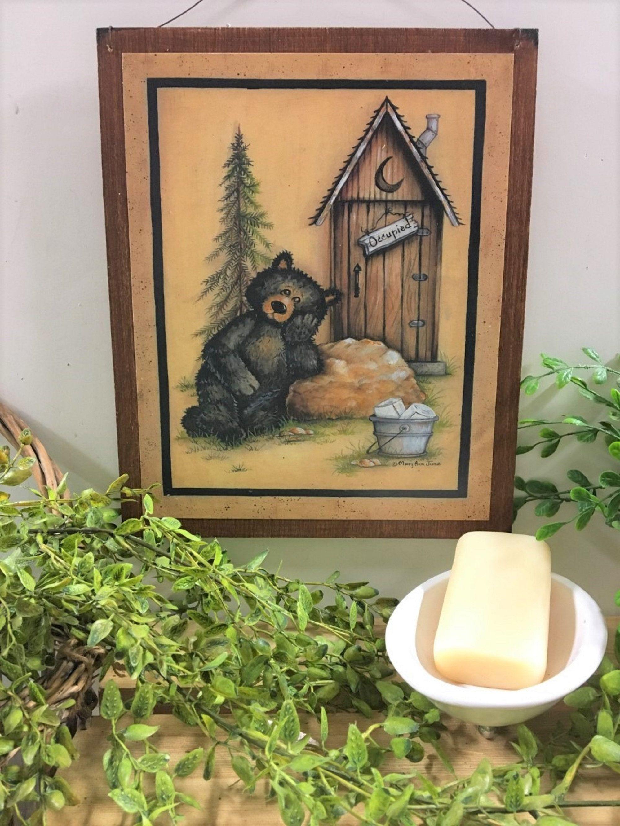 Cabin Bear Bathroom Sign Occupied Black Bears Outhouse Lodge Etsy Bathroom Signs Outhouse Bathroom Decor Cabin Decor Country bear bathroom decor