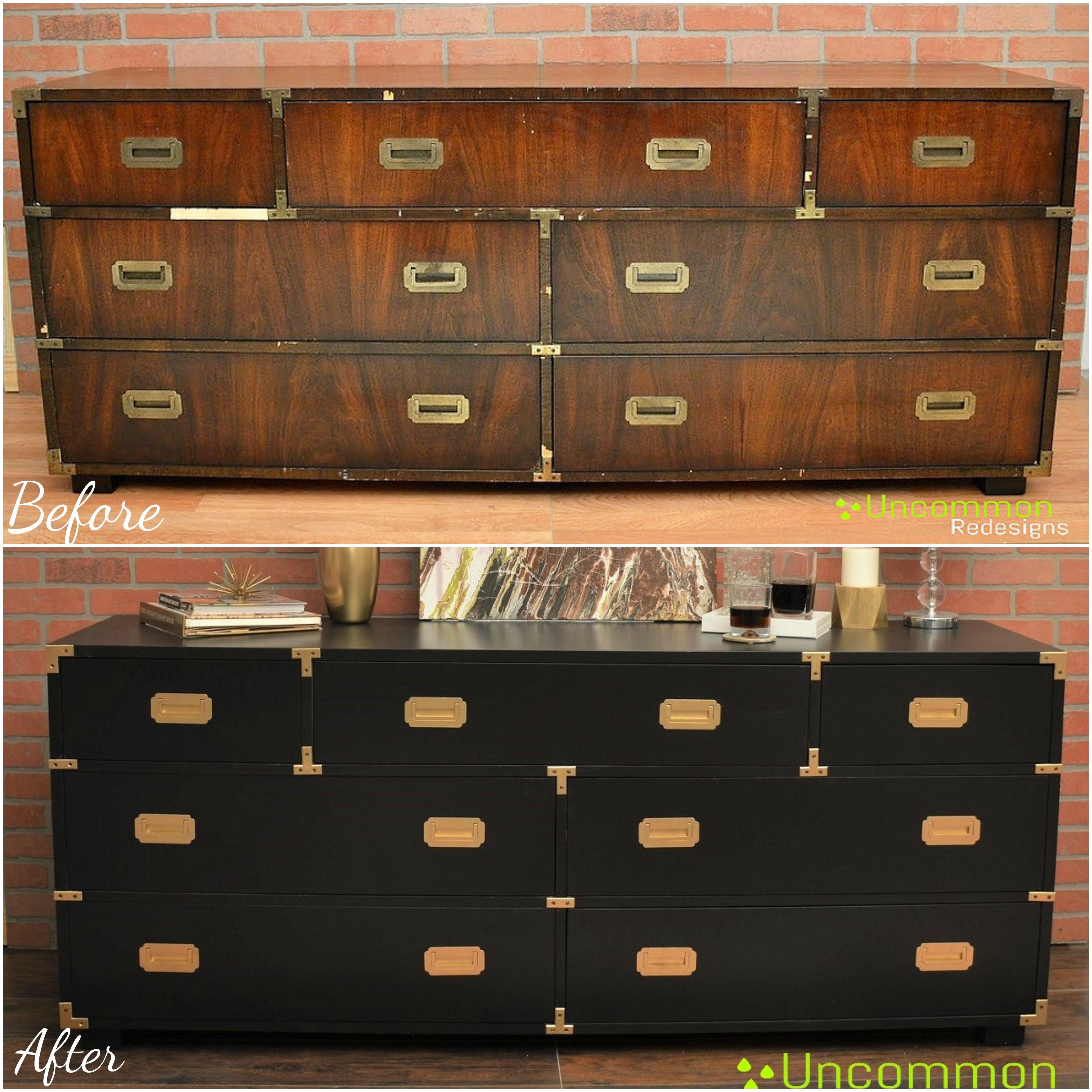Restored And Redesigned Vintage Lane Campaign Dresser Black Satin