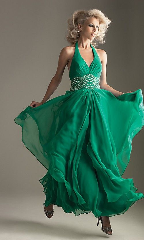 green backless prom dress