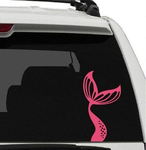 Mermaid tail vinyl car window decal sticker beach ocean sand water life fish fun car window decals water life and mermaid tails