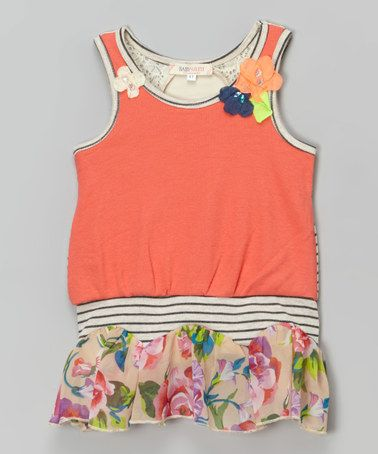 Love this Orange Dropped Waist Blouson Tunic - Toddler & Girls on #zulily! #zulilyfinds