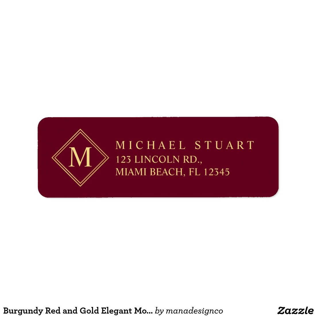 Burgundy Red And Gold Elegant Monogram Label  Stylists Other And