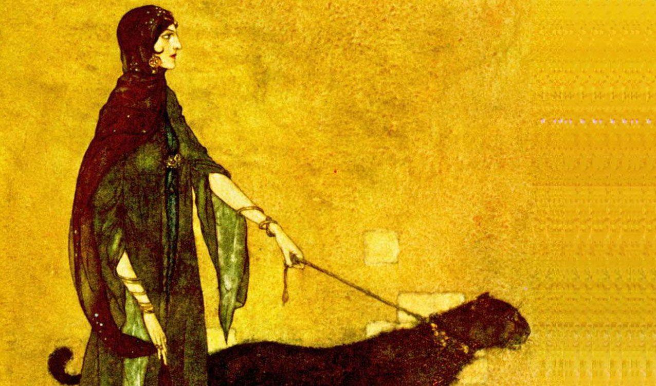 """""""Edmund-Dulac. Ilustração para Noites da Arábia. A rainha das Ilhas de Ébano -1907""""."""