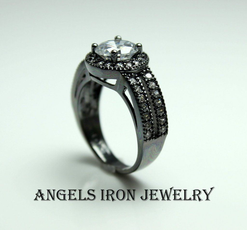 Unique Engagement Ring Black Gold Women Wedding Anniversary
