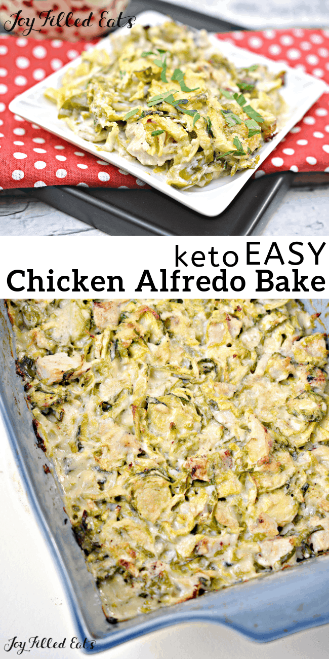 Chicken Alfredo Bake - Keto, Low Carb. Gluten-Free, Grain-Free, THM S - If you are a fan of casseroles, this chicken alfredo casserole is one to try. Shredded Brussel sprouts paired with diced chicken, in a creamy alfredo sauce. Toss in the oven and bake until browned and light and bubbly! #lowcarb #lowcarbrecipes #lowcarbdiet #keto #ketorecipes #ketodiet #thm #trimhealthymama #glutenfree #grainfree #glutenfreerecipes #recipes #ketodinnerrecipes