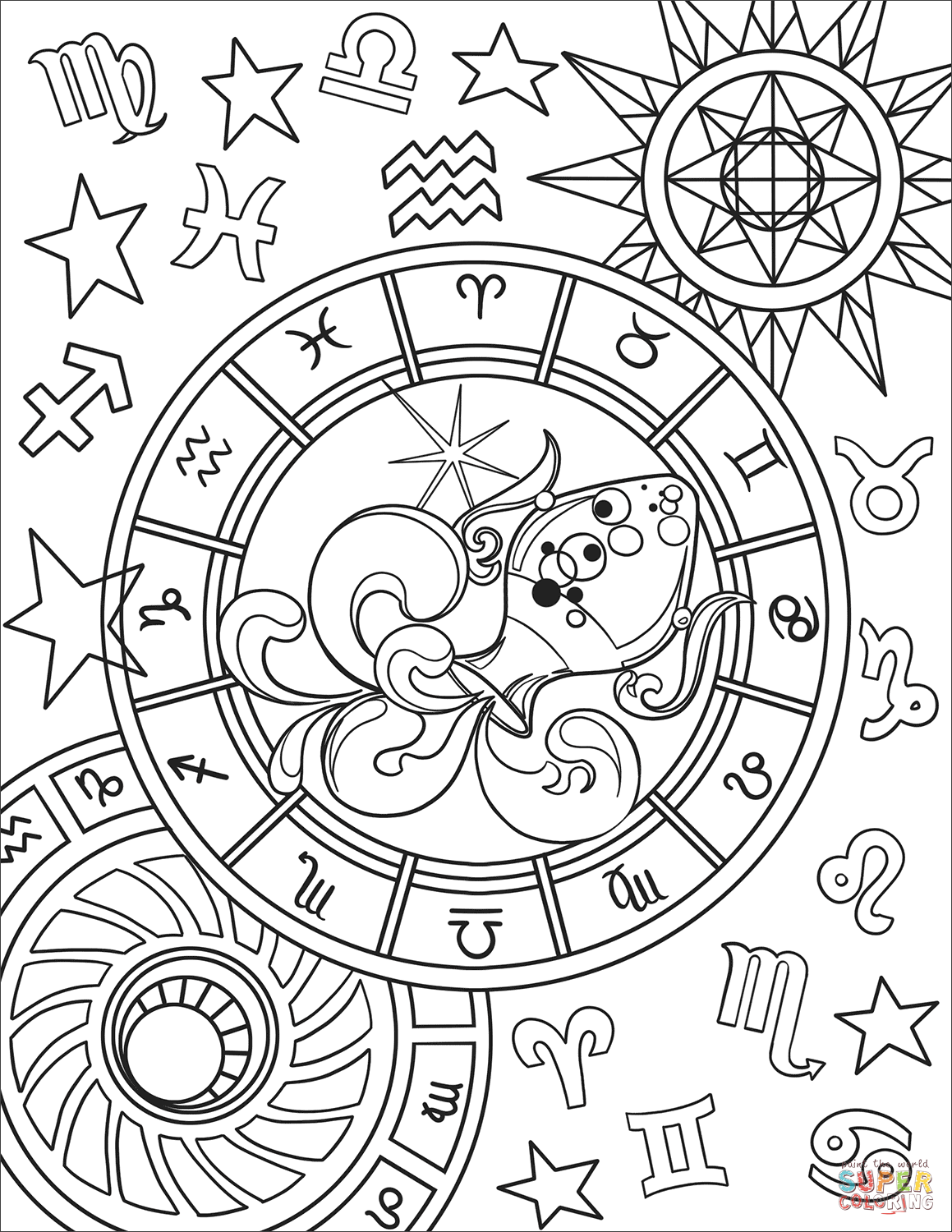 Aquarius Zodiac Sign Coloring Page Free Printable Coloring Pages Zodiac Signs Colors Witch Coloring Pages Coloring Pages