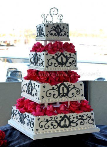 Ordinaire Black White And Red 4 Tiered Wedding Cake. What About Instead Of Roses,
