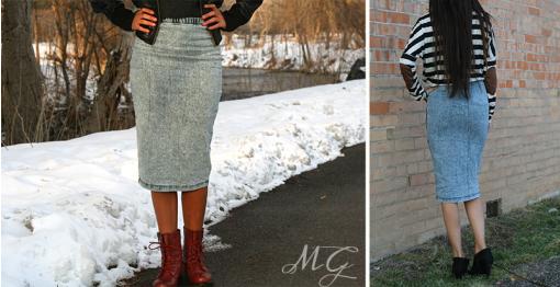 Denim Pencil Skirt | toAdorn.com