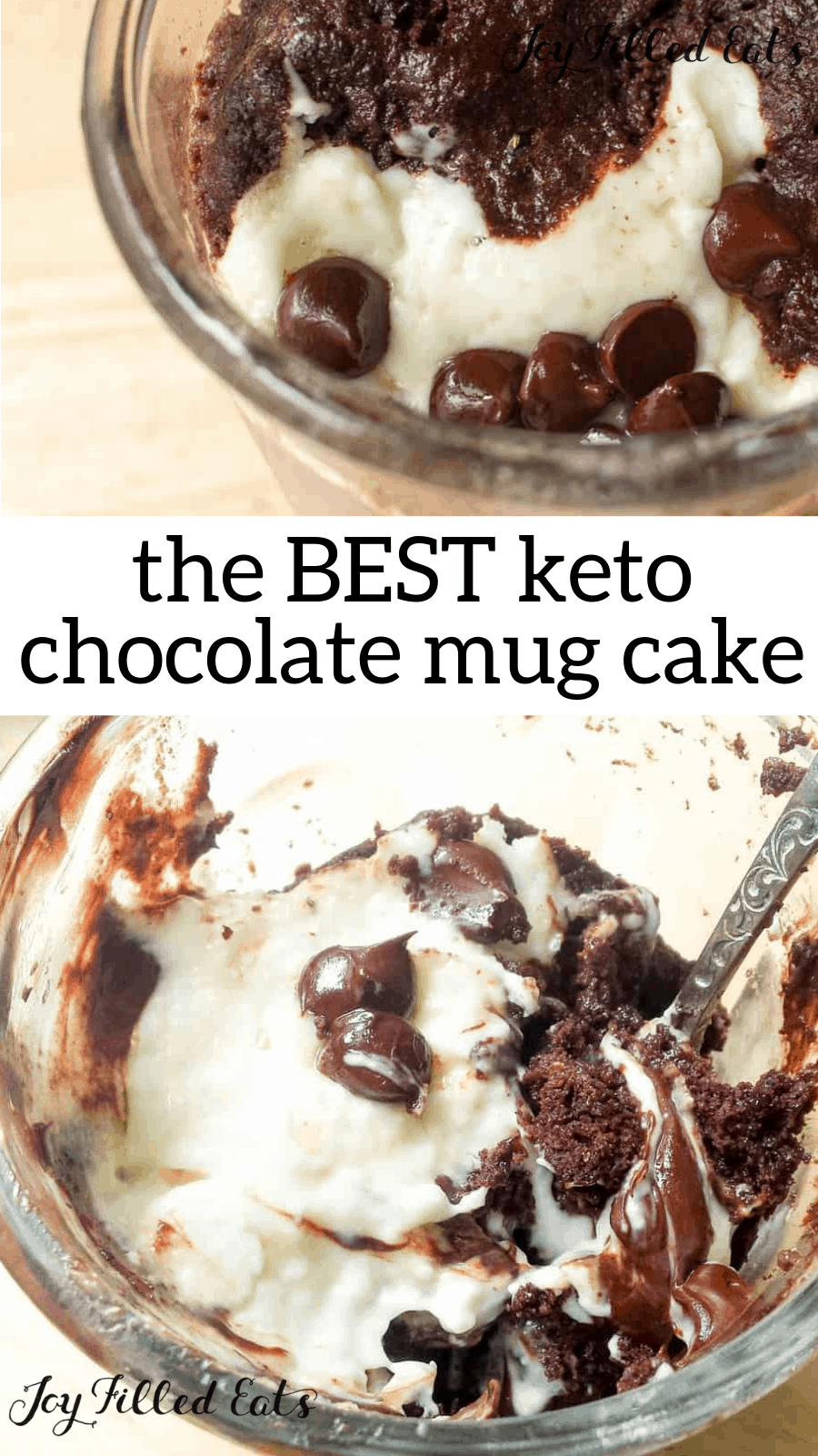 Single Serve Keto Mug Cake Low Carb, Grain-Free, Gluten-Free, Sugar-Free, THM S, Fast, Easy - Warm chocolate cake plus a creamy cheesecake topping and melty chocolate chips My Single Serve Keto Mug Cake tastes like heaven and is ready in about five minutes.