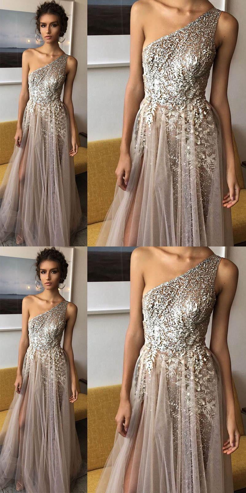 New arrival prom dressone shoulder shinning side split elegant long