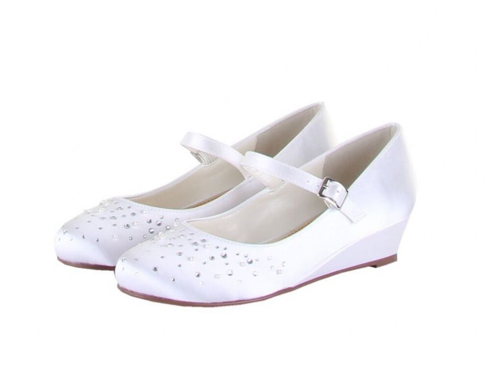 64bddf4fd Rainbow Club - Nutmeg - Wedge White Communion Shoes with Crystals Pearls -  NEW 2016 - Couture Girls Shoes - Fashionable Girls White Satin Communion