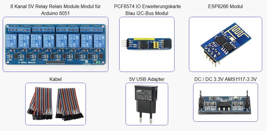 8 Kanal I2C – Relais per WLAN steuern mit ESP8266 Webserver