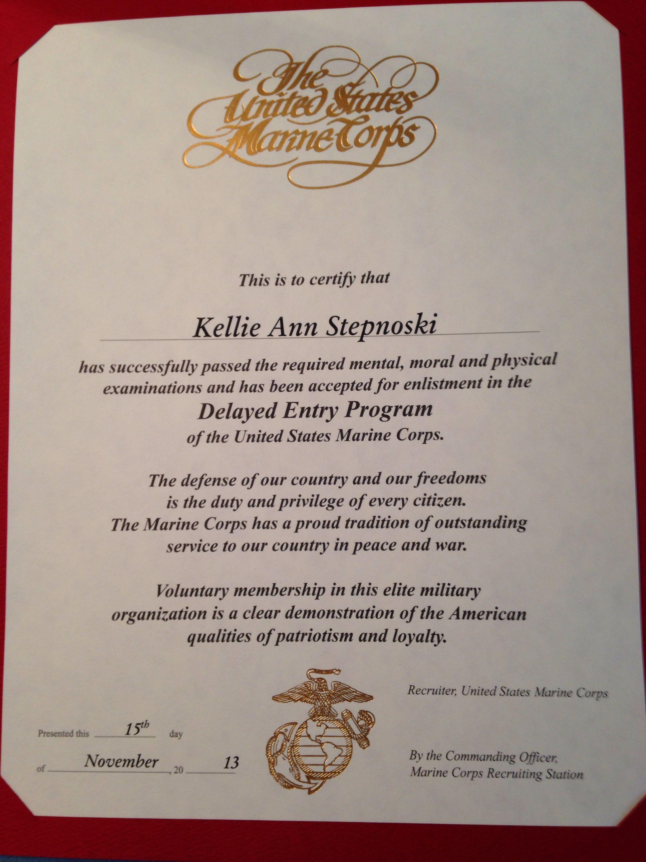 Dep Certificate Marine Corps Tattoo Policy Marine Corps Tattoos Marine Corps