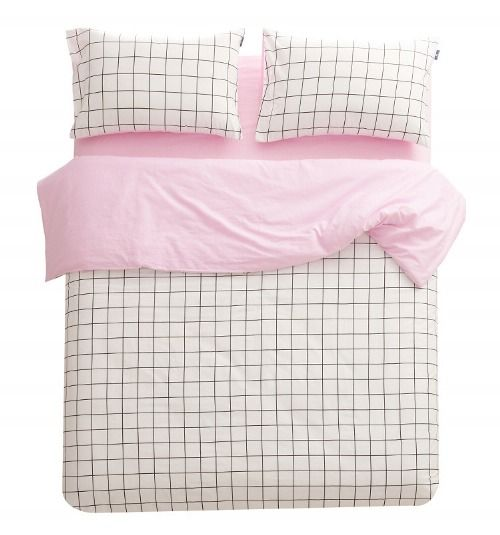 Graph Paper Bedding Grunge Bedroom Pink Bedding White Bedding