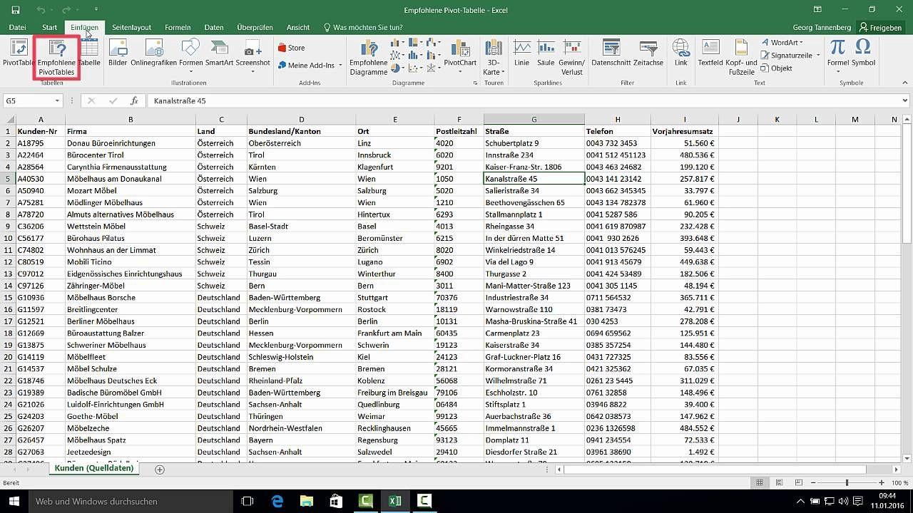 Excel 2016 2 Empfohlene Pivot Tabellen Erstellen Youtube Trending Decor Good Things Create