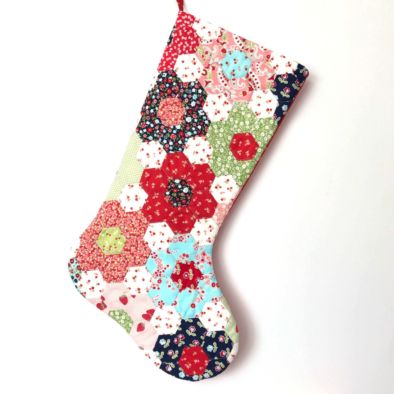 Hand Pieced Hexagon Christmas Stocking