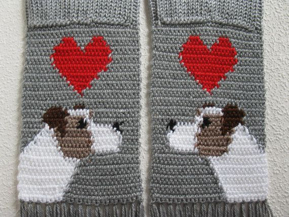 Jack Russell Terrier Scarf Grey Knit And Crochet Scarf With Parsons
