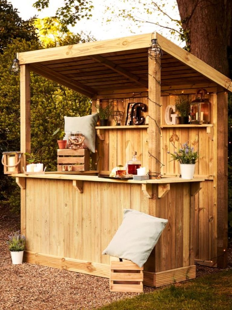 Home improvement retailer Wickes has launched a stylish outdoor build-your-own garden bar set for £350 – it's the perfect garden idea for your outdoor space. The DIY project will bring the holiday scene to your garden this summer. The garden bar is constructed from timber and inside the kit, you will find a 25mm deckboard for the walls, featheredge for the roof, and deckboards for the fascias and the shelves. (Photos: Wickes).