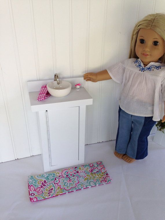 Bathroom sink and cabinet fits American Girl by ...