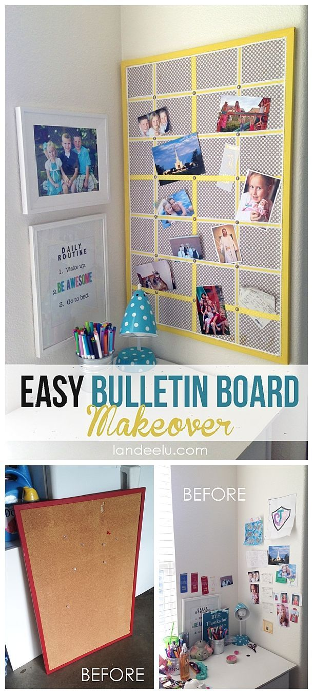 Easy bulletin board makeover bulletin board and board easy diy bulletin board makeover inexpensive and quick do it yourself home decor and organization project i love how it turned out solutioingenieria Images